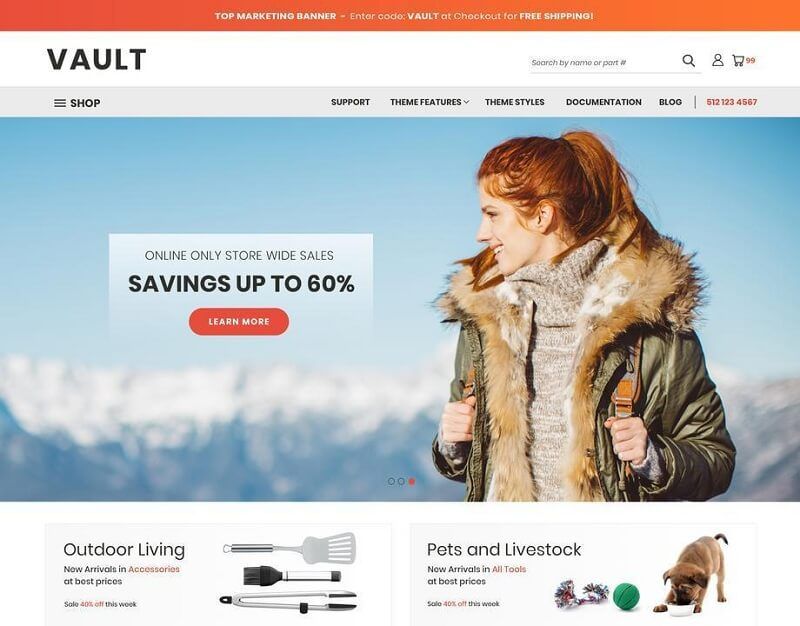 Free BigCommerce Themes: #Vault Bright
