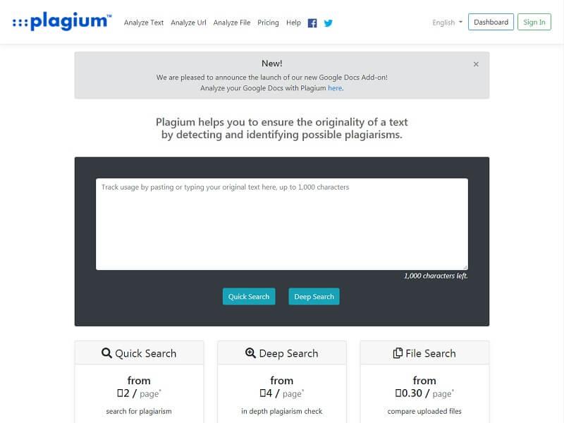 #Plagium: Free Plagiarism Checkers